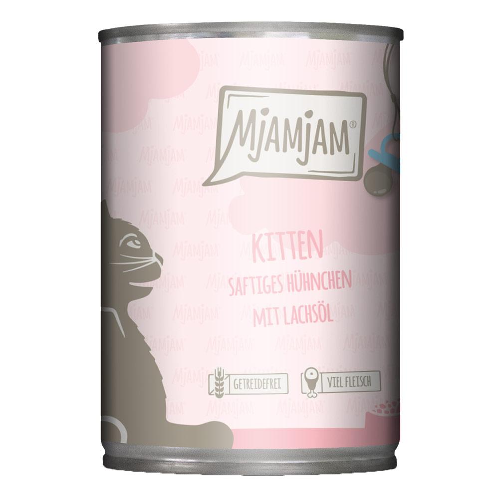 6 x 400 g | Mjamjam | Kitten saftiges Hühnchen mit Lachsöl | Nassfutter | Katze