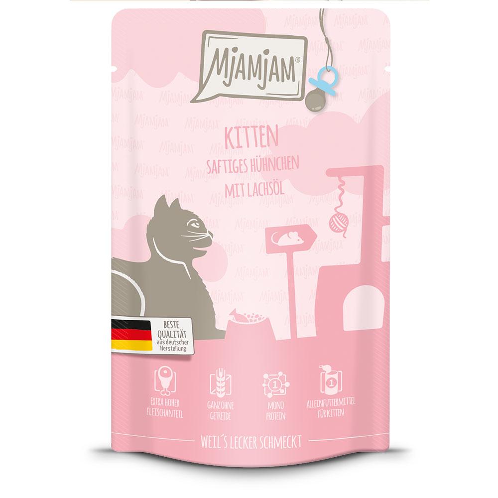 12 x 125 g | Mjamjam | Quetschies Kitten saftiges Hühnchen mit Lachsöl | Nassfutter | Katze