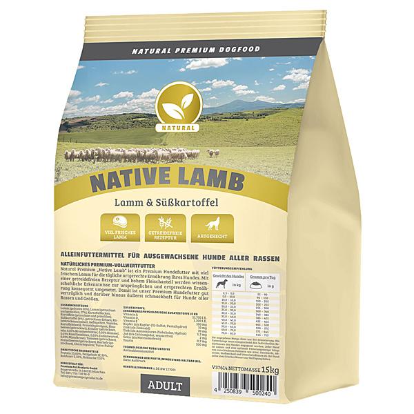 Trockenfutter getreidefrei, 15 kg, Lamm, Premium Hundefutter, Natural