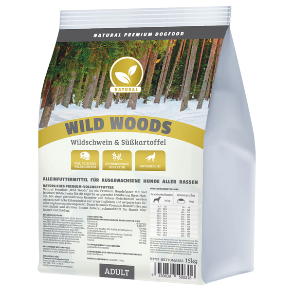 Trockenfutter getreidefrei, 15 kg, Wild, Premium Hundefutter, Natural