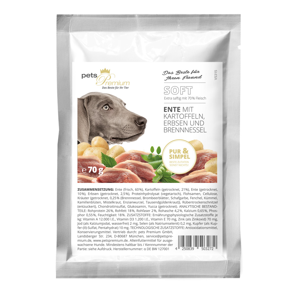 pets Premium - Trockenfutter - Soft Ente mit Kartoffeln, Erbsen und Brennnessel 70g (getreidefrei)