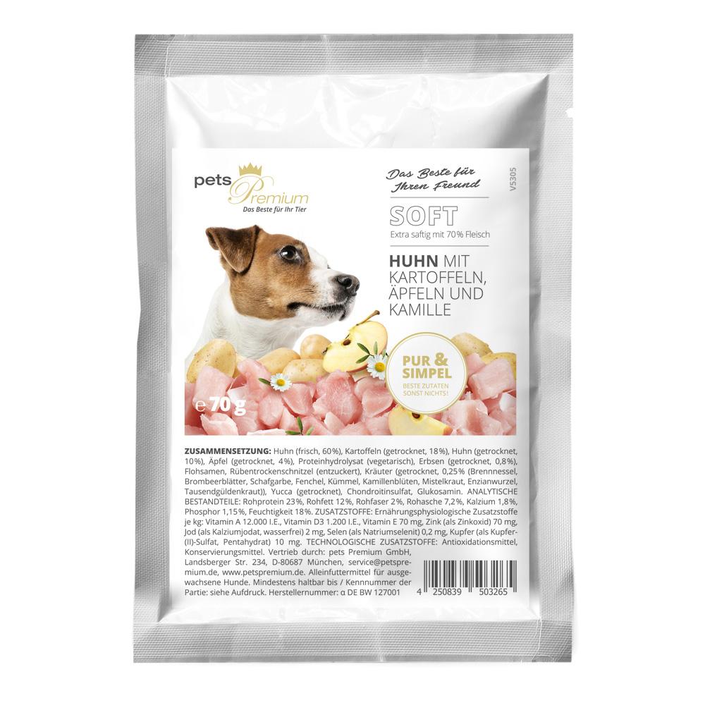 pets Premium - Trockenfutter - Soft Huhn mit Kartoffeln, Äpfeln und Kamille 70g (getreidefrei)