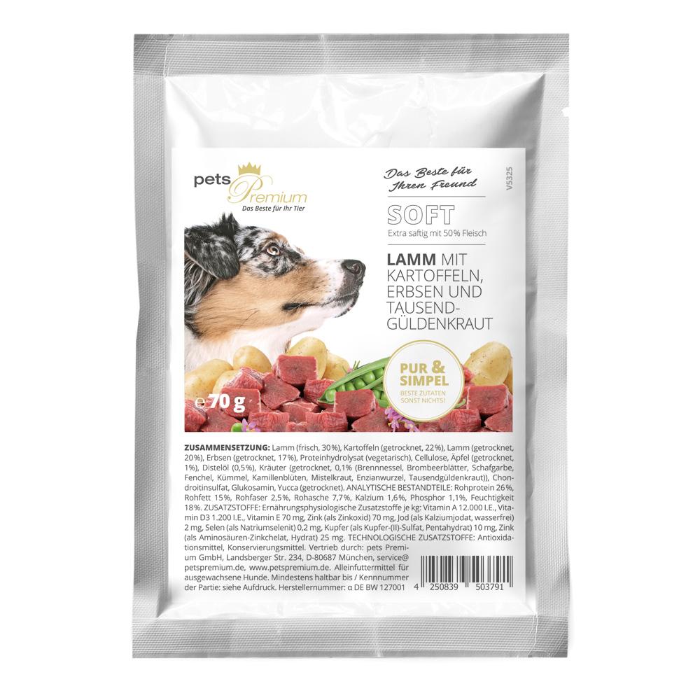 pets Premium - Trockenfutter - Soft Lamm mit Kartoffeln, Erbsen und Tausendgüldenkraut 70g (getreidefrei)