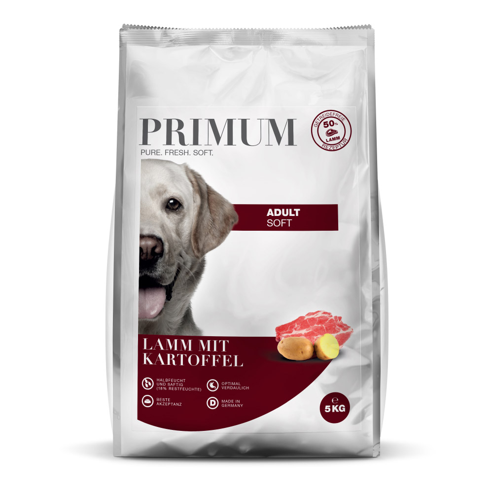 halbfeuchtes Hundefutter, Soft, Lamm, 5kg, getreidefrei, Primum