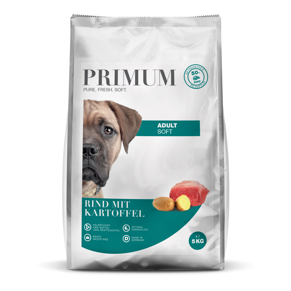 halbfeuchtes Hundefutter, Soft, Rind, 3x5kg, getreidefrei, Primum