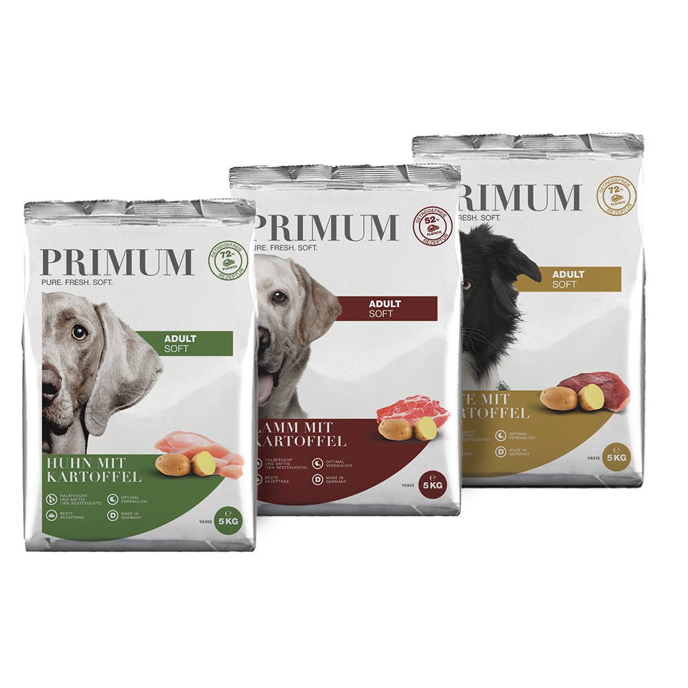 3 x 5 kg, Mix-Paket, Soft, getreidefrei, Hundefutter, halbfeucht, Primum