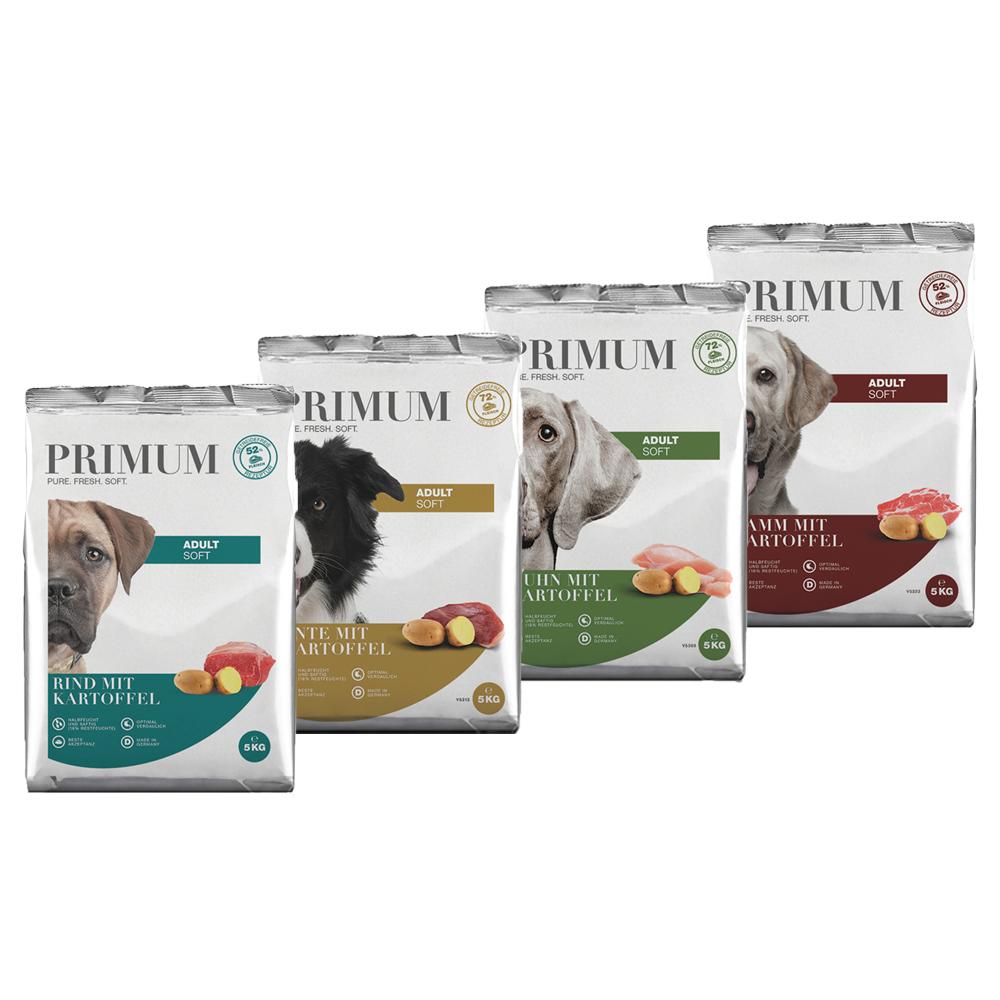 4 x 5 kg, Spar-Mix-Paket, Soft, getreidefrei, Hundefutter, halbfeucht, Primum