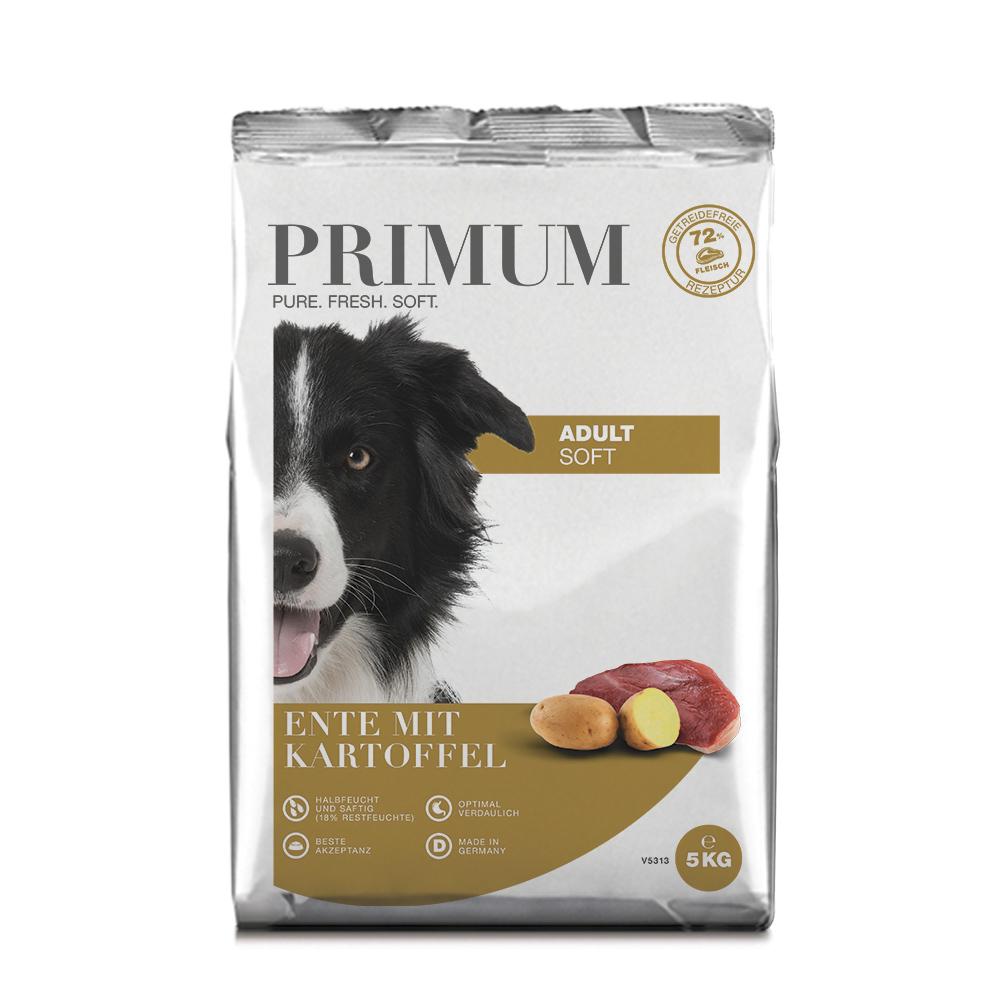 3 x 5 kg, Ente, Soft, getreidefrei, Hundefutter, halbfeucht, Primum