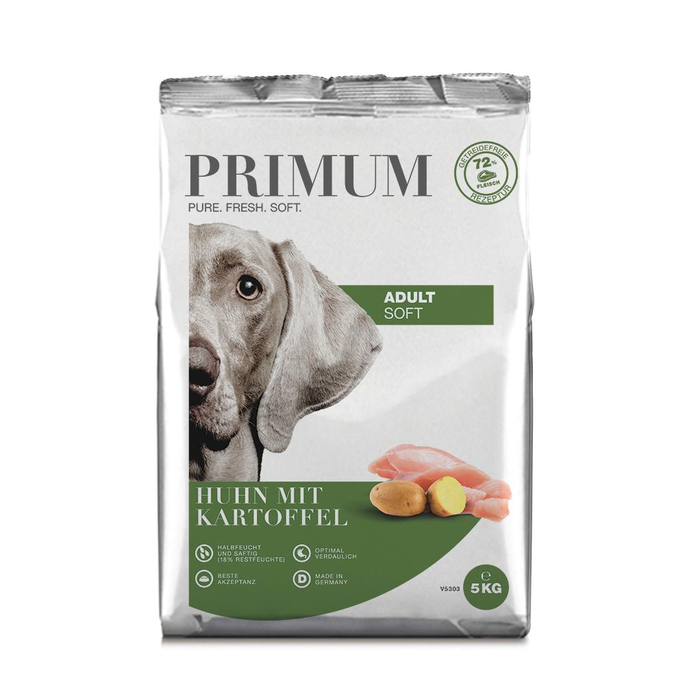 3 x 5 kg, Huhn, Soft, getreidefrei, Hundefutter, halbfeucht, Primum