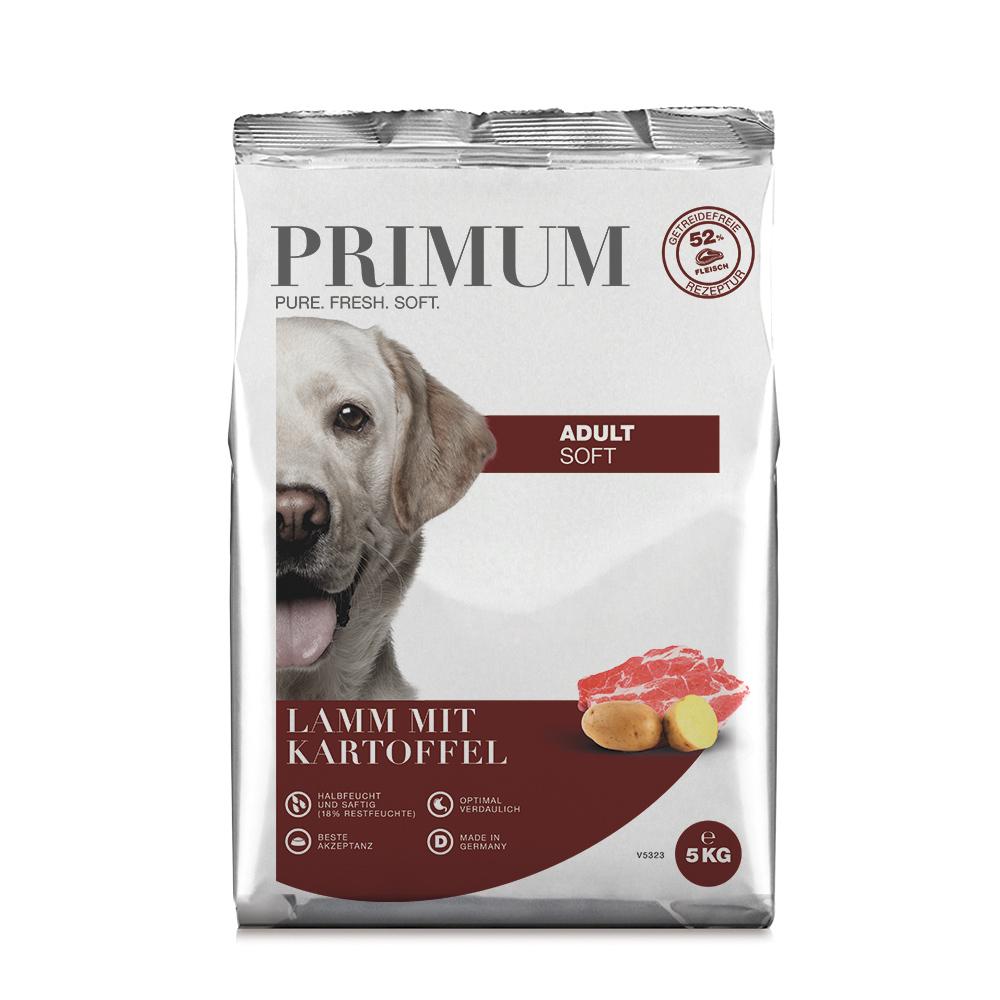 halbfeuchtes Hundefutter, Soft, Lamm, 3x5kg, getreidefrei, Primum