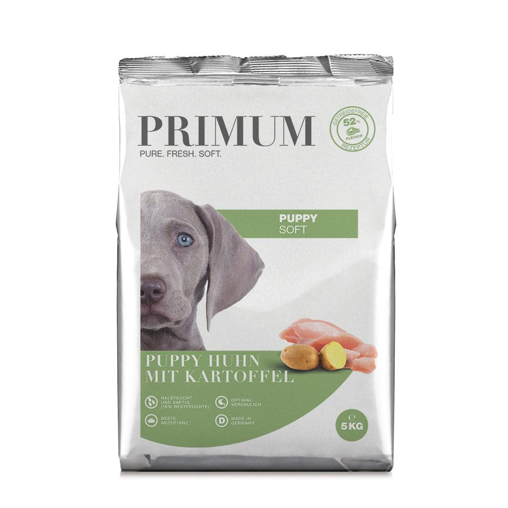 3 x 5 kg, Welpen, Huhn, Soft, getreidefrei, Hundefutter, halbfeucht, Primum