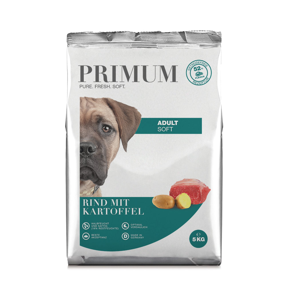 halbfeuchtes Hundefutter, Soft, Rind, 5kg, getreidefrei, Primum