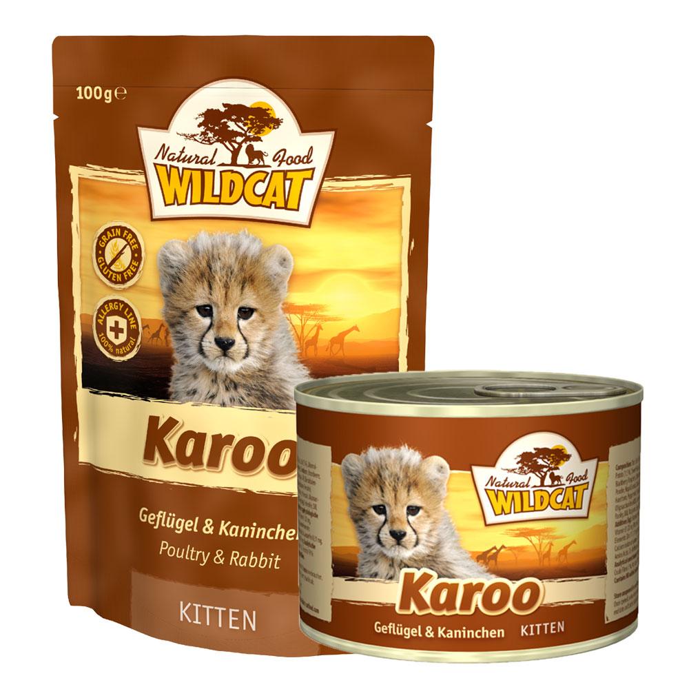 14 x 100 g | Wildcat | Karoo Kitten mit Geflügel und Kaninchen Pouch | Nassfutter | Katze