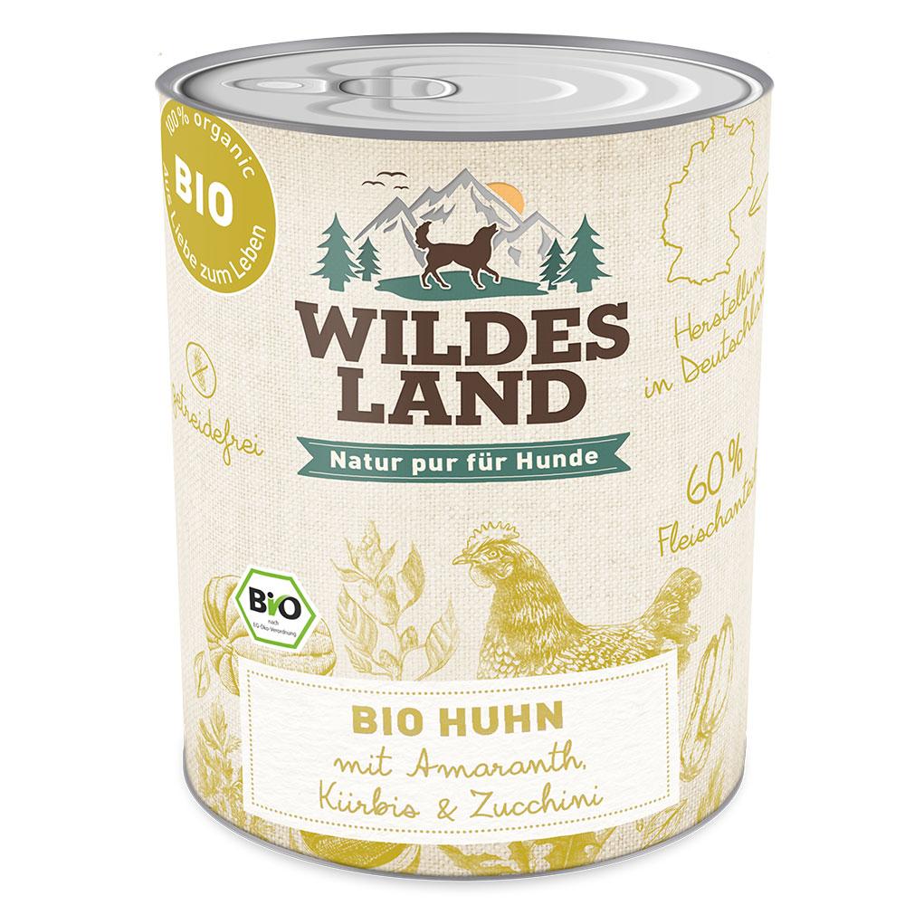 6x800g, Bio Hundefutter, getreidefrei, Huhn, Nasssfutter, Wildes Land