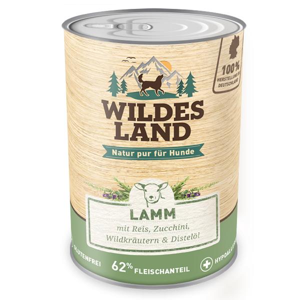 6 x 800g, Lamm, glutenfrei, Hundefutter, Nassfutter, Wildes Land