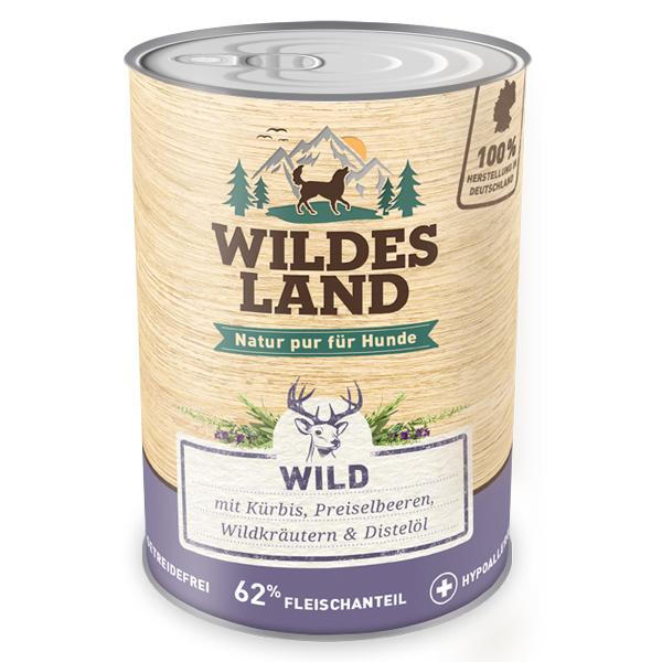 6 x 800g, Wild, getreidefrei, Hundefutter, Nassfutter, Wildes Land