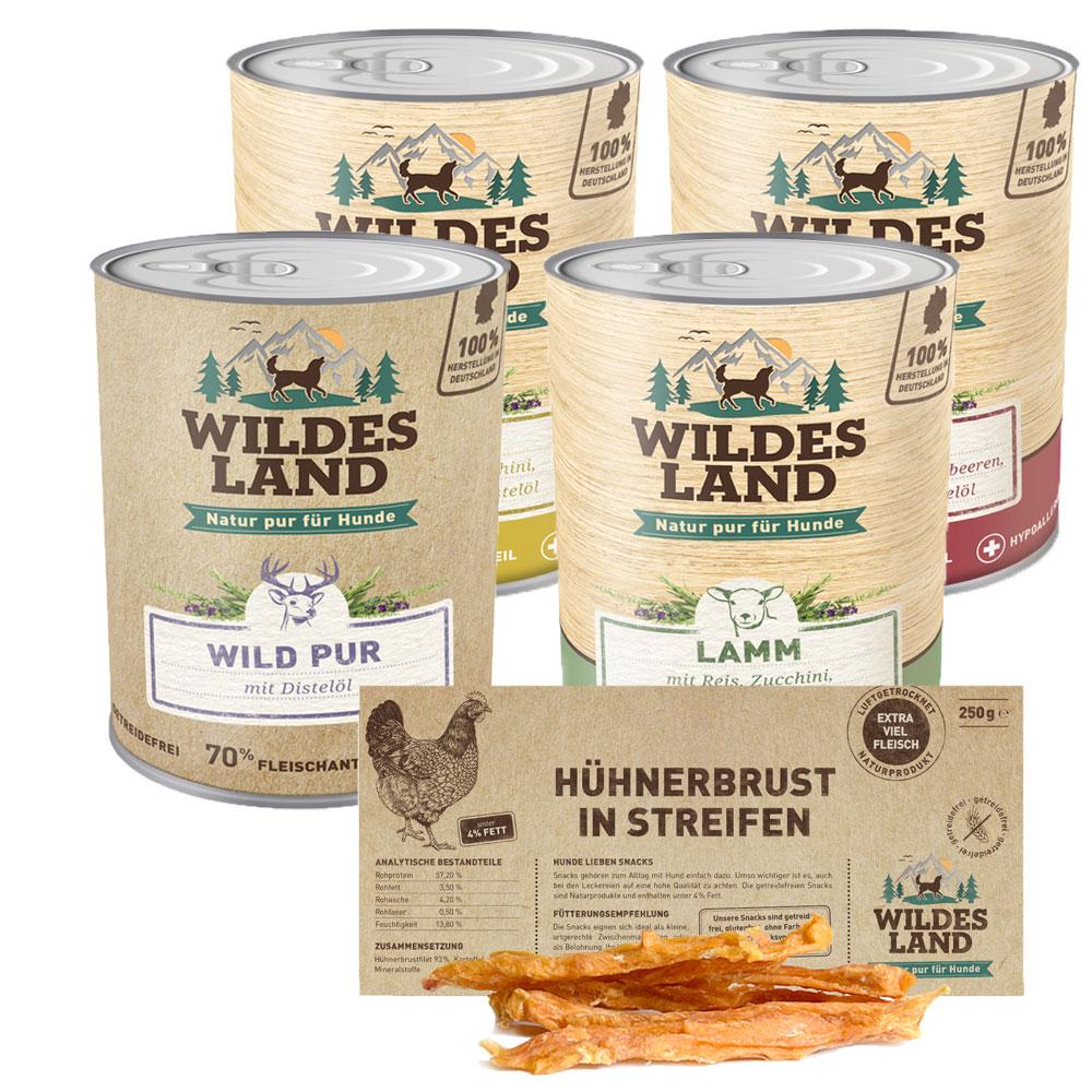 24 x 800g, Spar-Mix-Paket, glutenfrei, Hundefutter, Nassfutter, Wildes Land