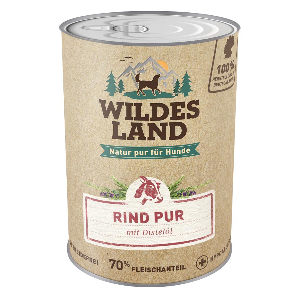 6 x 800g, Rind PUR, getreidefrei, Hundefutter, Nassfutter, Wildes Land