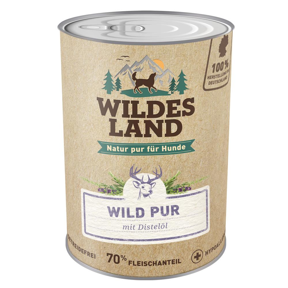 6 x 800g, Wild PUR, getreidefrei, Hundefutter, Nassfutter, Wildes Land