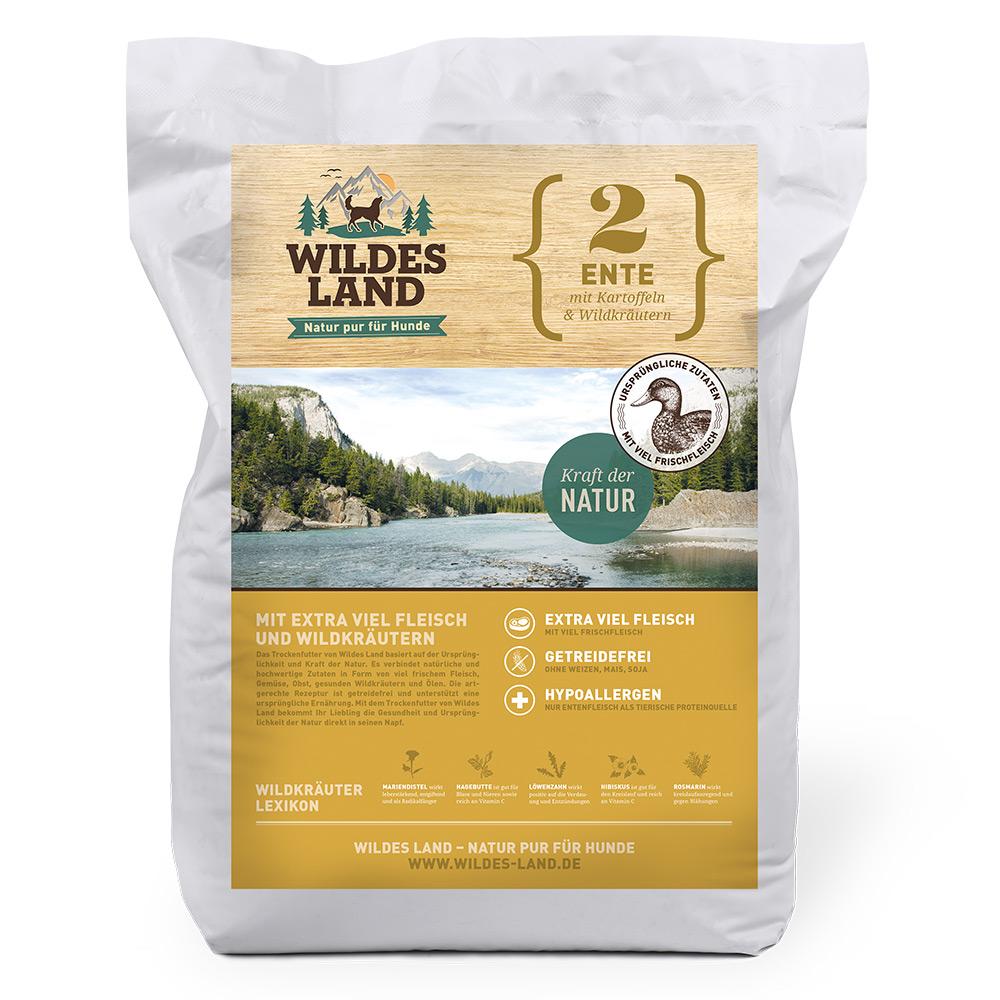 12 kg, Ente & Kartoffel, getreidefrei, Hundefutter, Trockenfutter, Wildes Land