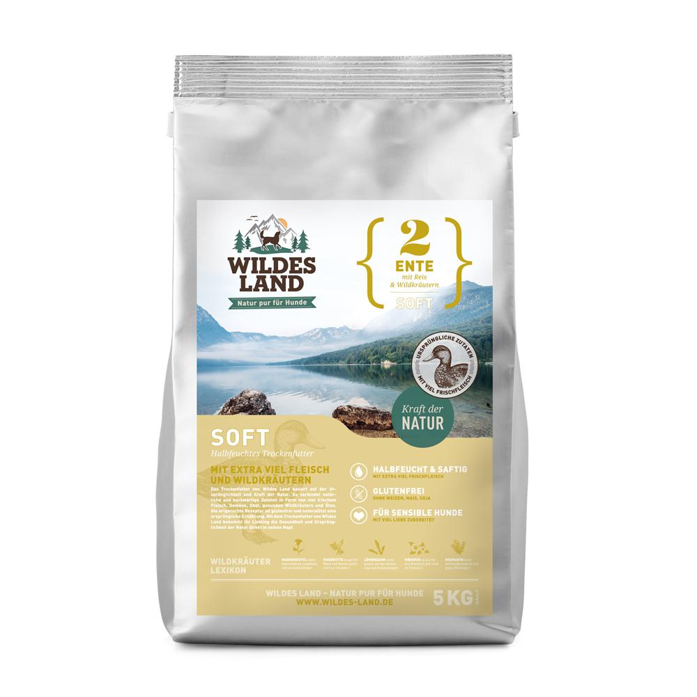 5 kg, Ente & Reis, Soft, glutenfrei, Hundefutter, halbfeucht, Wildes Land