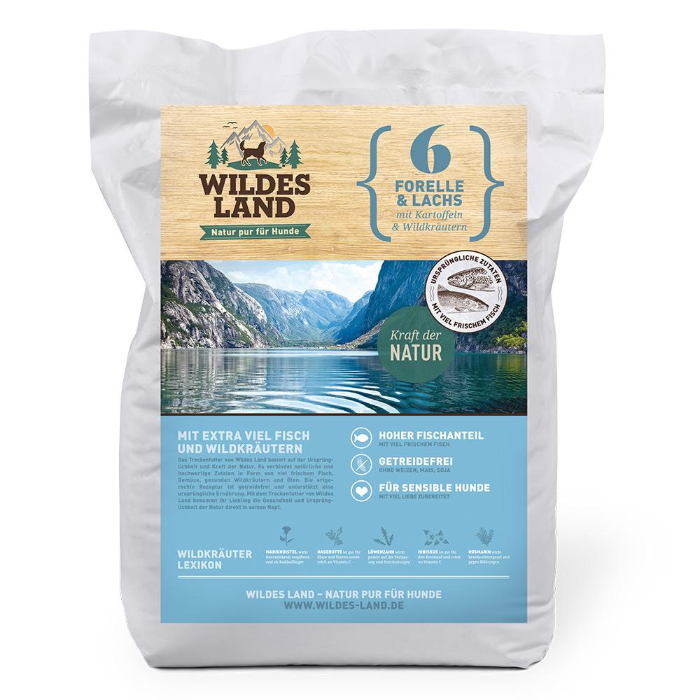 4 kg, Forelle & Lachs, getreidefrei, Hundefutter Trockenfutter, Wildes Land