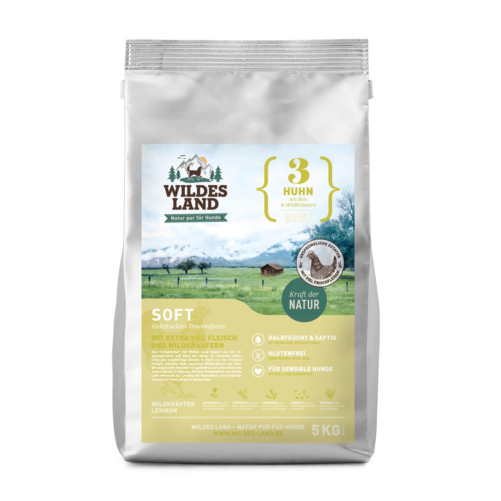 5 kg, Huhn & Reis, Soft, glutenfrei, Hundefutter, halbfeucht, Wildes Land