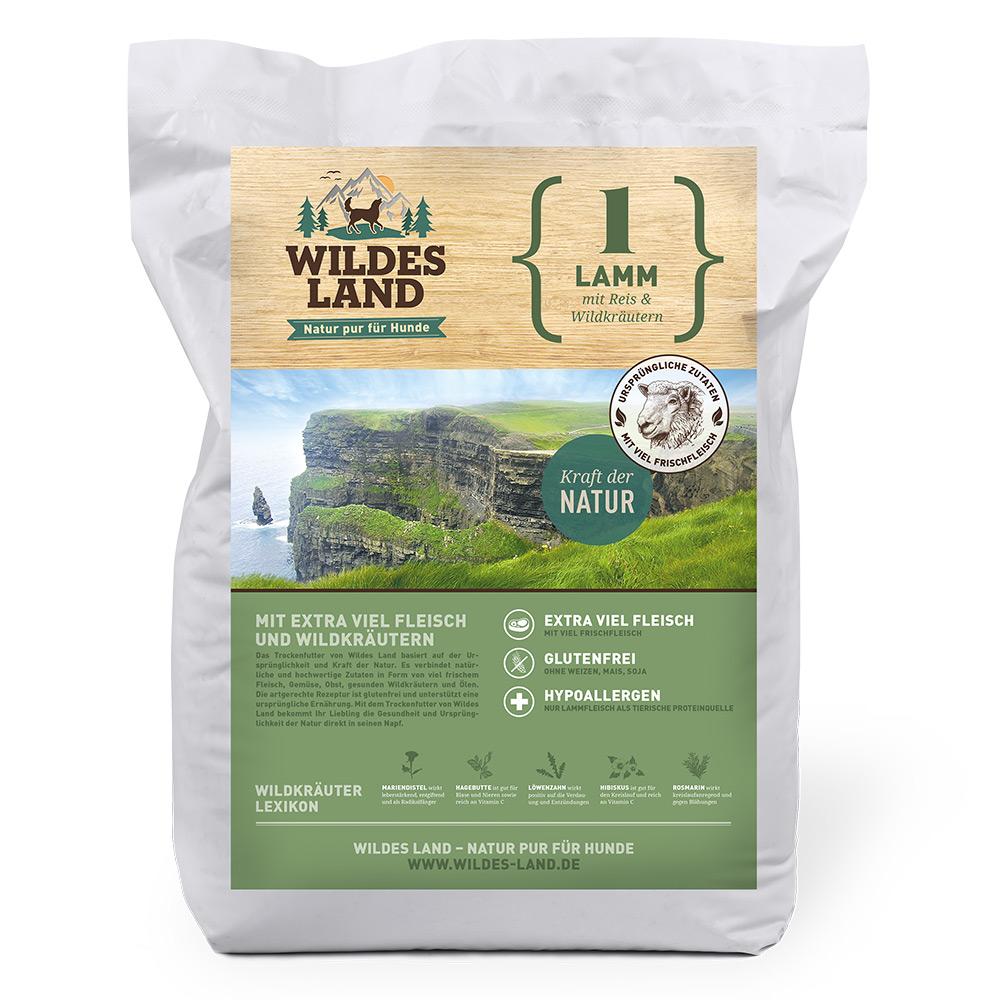 4 kg, Lamm & Reis, glutenfrei, Hundefutter, Trockenfutter, Wildes Land