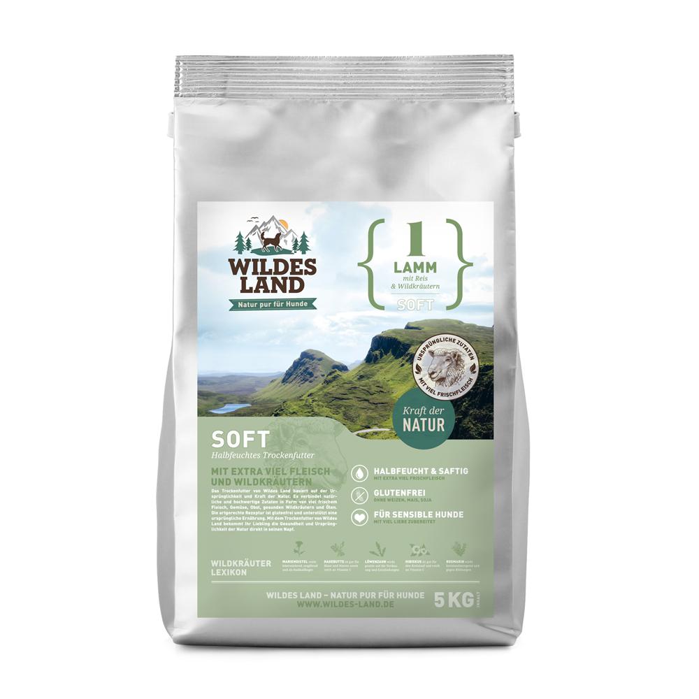 5 kg, Lamm & Reis, Soft, glutenfrei, Hundefutter, halbfeucht, Wildes Land