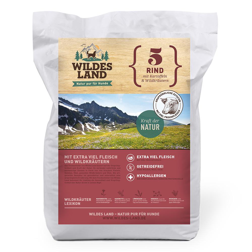 4 kg, Rind & Kartoffel, getreidefrei, Hundefutter, Trockenfutter, Wildes Land