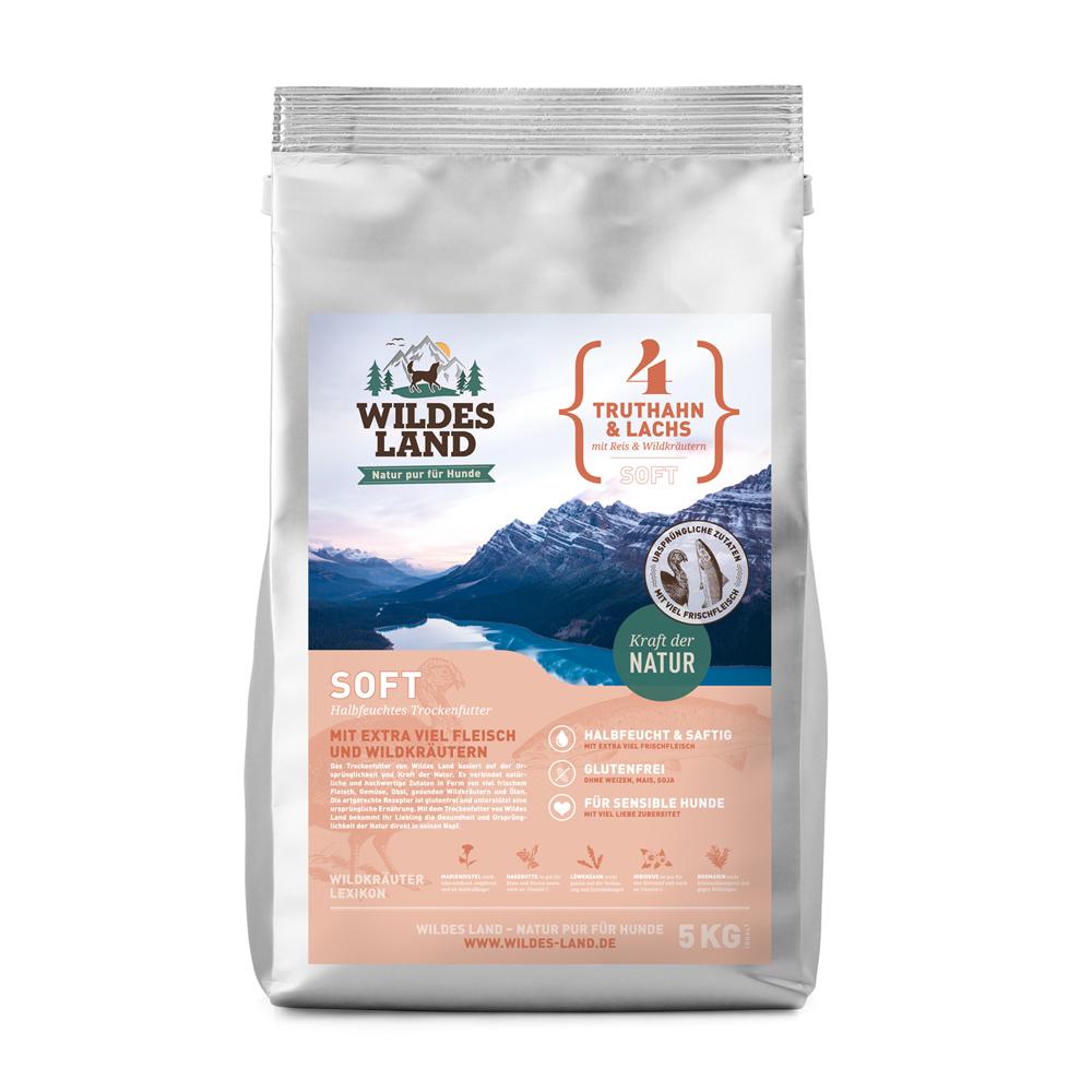5 kg, Truthahn & Reis, Soft, glutenfrei, Hundefutter, halbfeucht, Wildes Land