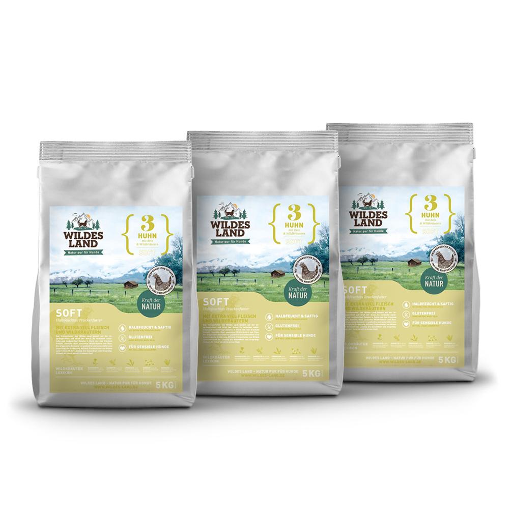 3 x 5kg, Huhn & Reis, Spar-Mix-Paket, Soft, Hundefutter, halbfeucht, Wildes Land