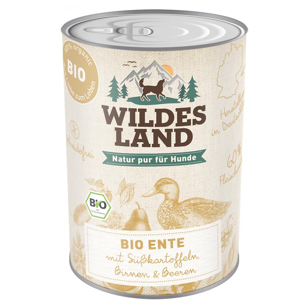 6 x 800g, Bio, Ente & Kartoffel, getreidefrei, Hundefutter, Nassfutter, Wildes Land