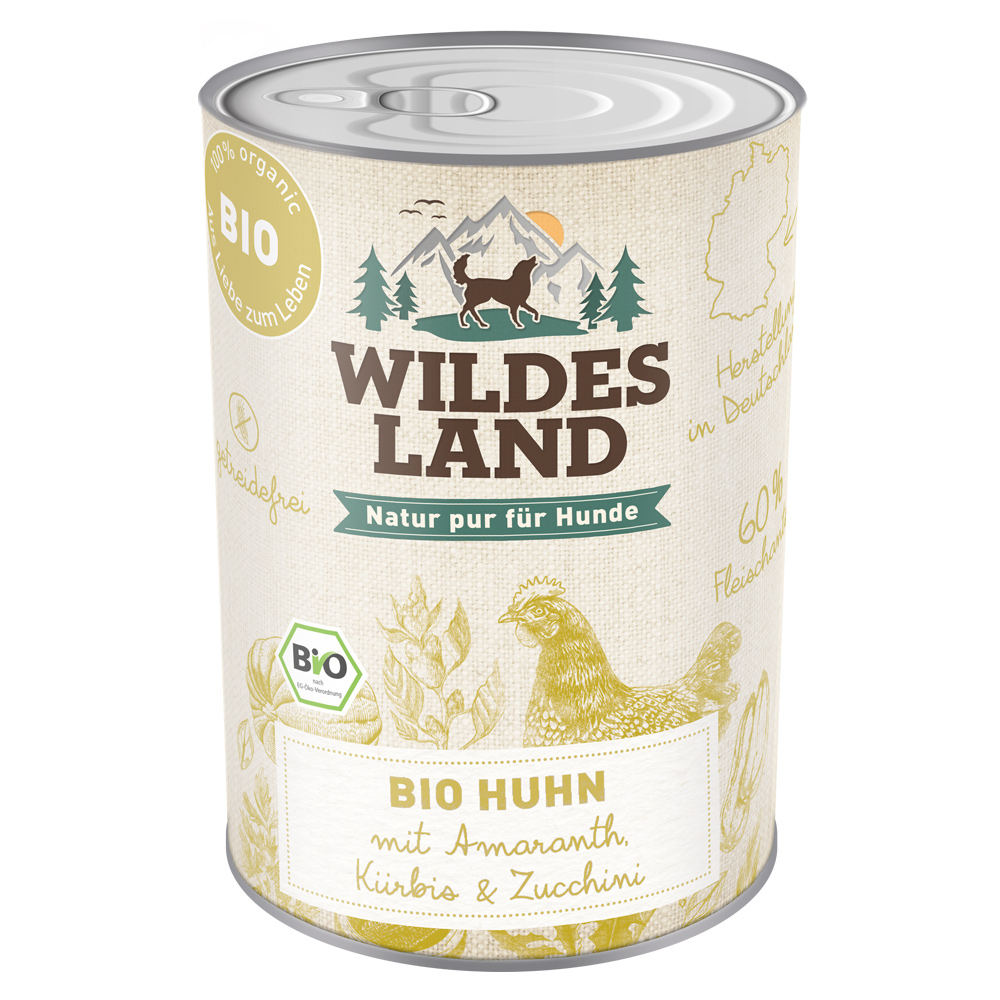 6 x 800g, Bio, Huhn & Amaranth, getreidefrei, Hundefutter, Nassfutter, Wildes Land