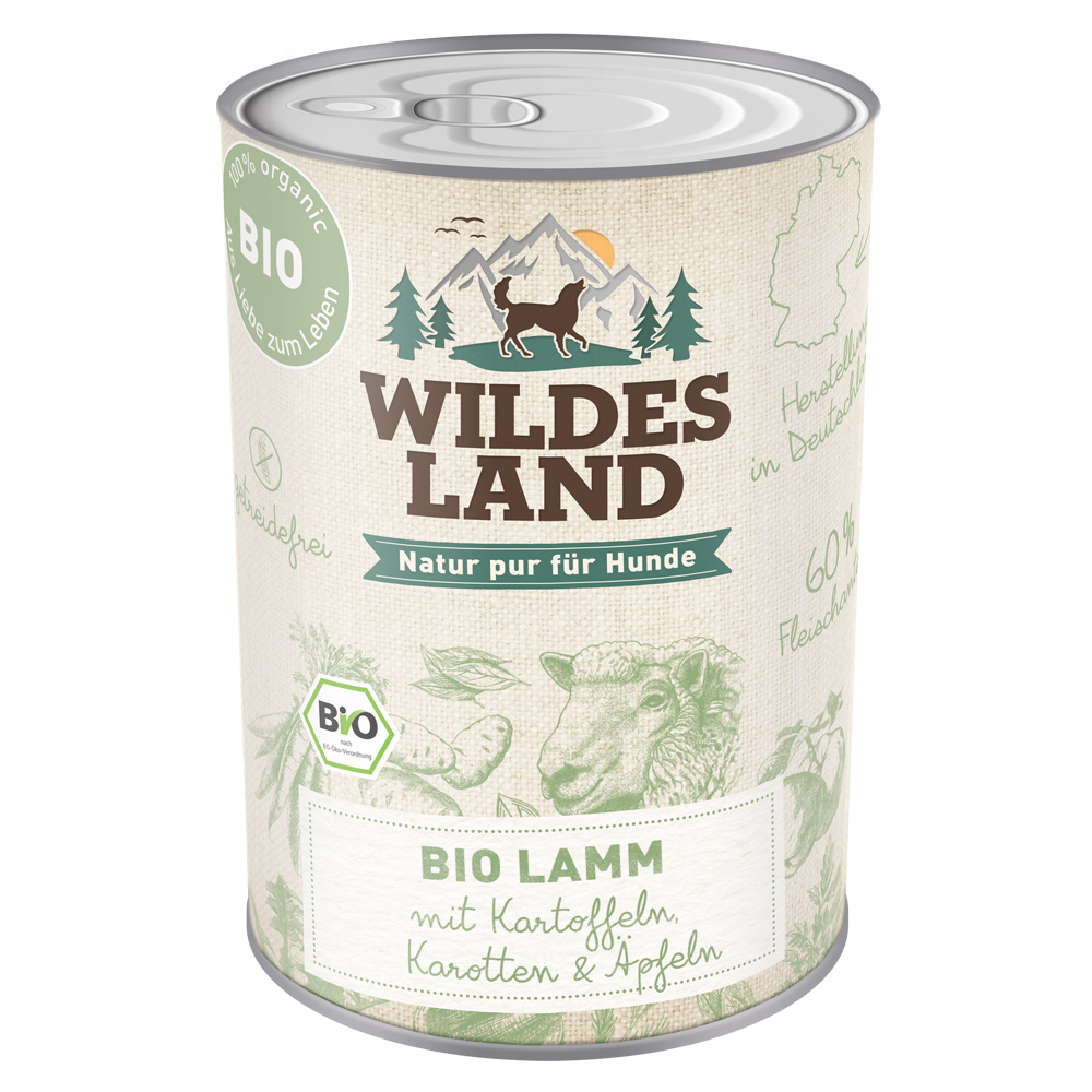 6 x 800g, Bio, Lamm & Kartoffel, getreidefrei, Hundefutter, Nassfutter, Wildes Land