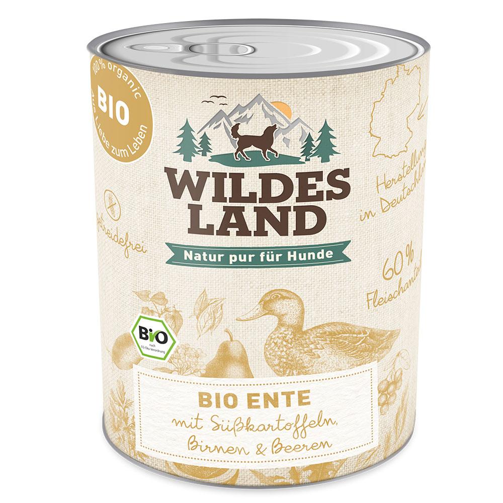 6x800g, Bio Hundefutter, getreidefrei, Ente, Nassfutter, Wildes Land