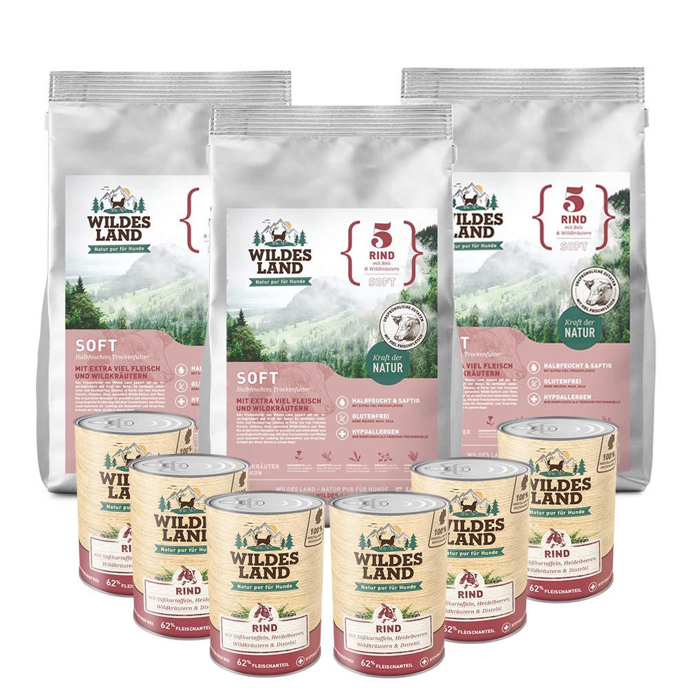 3 x 5 kg + 6 x 400g, Rind & Reis, Spar-Mix-Paket, Soft, Hundefutter, Wildes Land