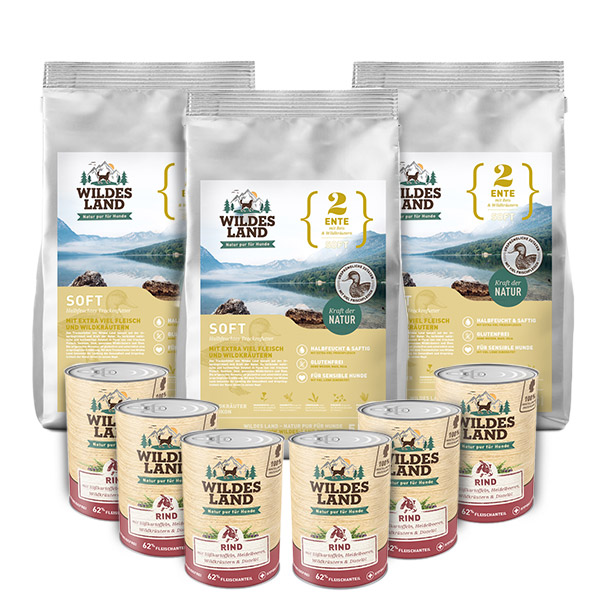 3 x 5 kg + 6 x 400g, Ente & Reis, Soft, Hundefutter, halbfeucht, Wildes Land