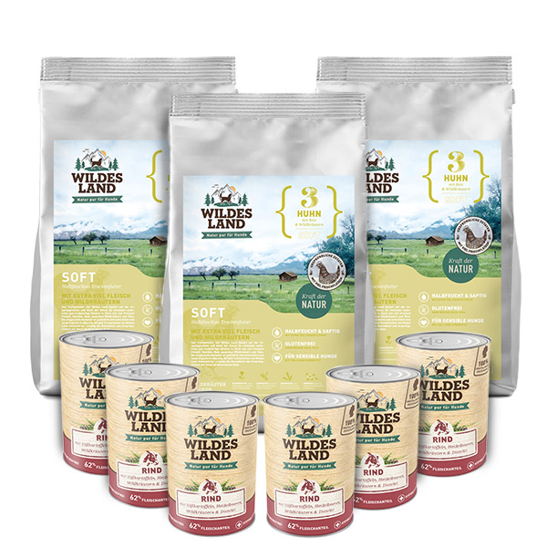 3x5 kg + 6x400g, Probe-Mix-Paket, Soft, Hundefutter, halbfeucht, Wildes Land