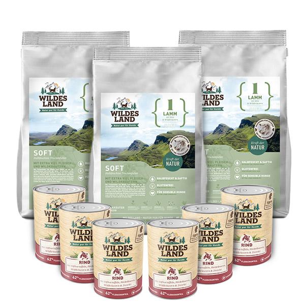 3 x 5 kg + 6 x 400g, Lamm & Reis, Spar-Mix-Paket, Soft, Hundefutter, Wildes Land