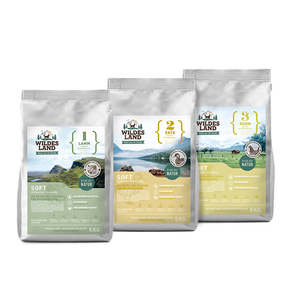 3 x 5 kg, Probe-Mix-Paket, Soft, glutenfrei, Hundefutter, Wildes Land
