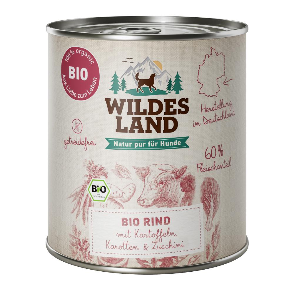 6x800g, Bio Hundefutter, getreidefrei, Rind, Nassfutter, Wildes Land
