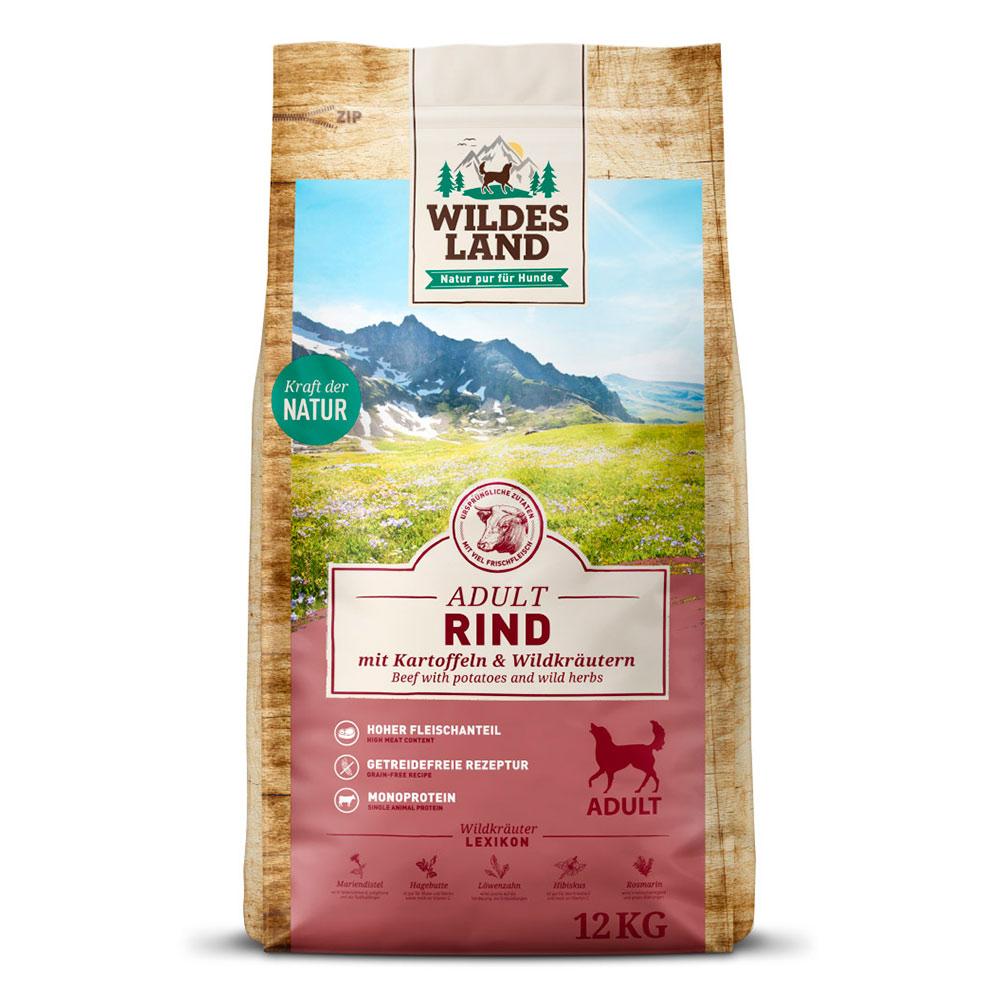 12 kg | Wildes Land | Rind mit Kartoffeln und Wildkräutern Classic Adult | Trockenfutter