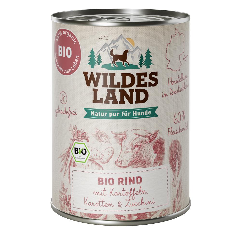6 x 800g, Bio, Rind & Kartoffel, getreidefrei, Hundefutter, Nassfutter, Wildes Land