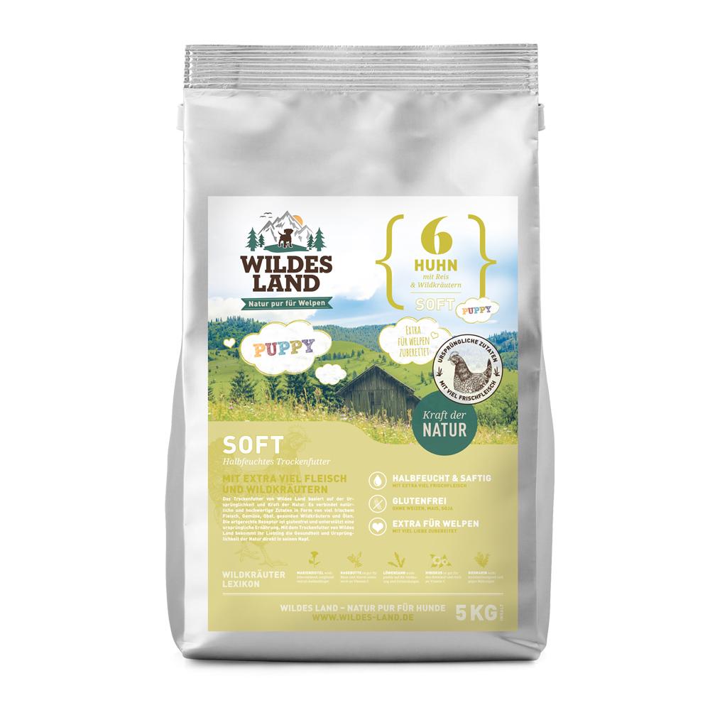 5 kg, Huhn & Reis, Welpen, Soft, glutenfrei, Hundefutter, halbfeucht, Wildes Land