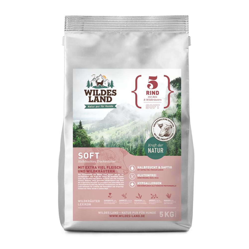 5 kg, Rind & Reis, Soft, glutenfrei, Hundefutter, halbfeucht, Wildes Land
