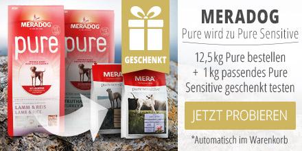 Meradog Pure wird zu Pure Sensitive 12,4kg Pure bestellen + 1 kg passendes Pure sensitive geschenkt testen