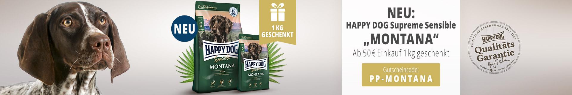 Hapy Dog Aktion Supreme Sensible Montana 1kg gratis ab 50Euro Einkauf