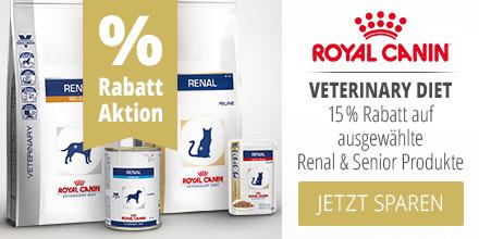Royal Canin Veterinary Diet 15% Rabatt auf ausgewählte Renal & Senior Produkte