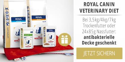 Royal Canin Veterinary Diet bei 3,5kg/4kg/7kg Trockenfutter oder 24x85g Nassfutter: antibakterielle Katzendecke geschenkt